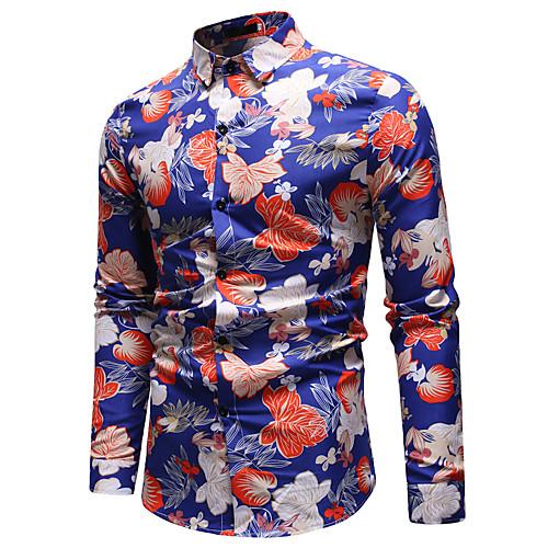 Муж. С принтом Рубашка Геометрический принт / Контрастных цветов / Огурцы