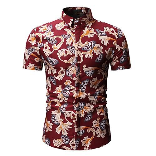 Муж. С принтом Рубашка Цветочный принт / Геометрический принт / Животное