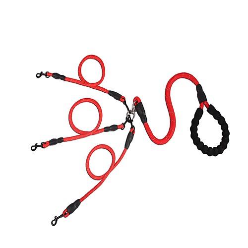 Собаки Поводки Выдвижной / Регулируемый размер / Безопасность Однотонный Нейлон Красный / Черный