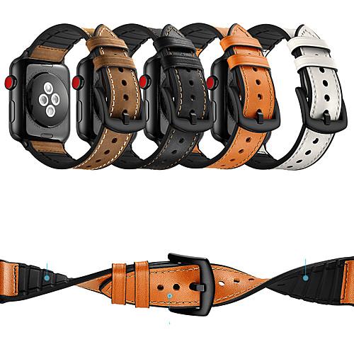 Ремешок для часов для Apple Watch Series 4/3/2/1 Apple Классическая застежка силиконовый / Натуральная кожа Повязка на запястье