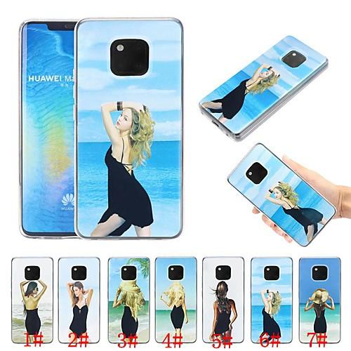 Кейс для Назначение Huawei P20 / Huawei Mate 20 Lite Защита от удара / Движущаяся жидкость / Ультратонкий Кейс на заднюю панель Соблазнительная девушка Мягкий ТПУ для Huawei P20 / Huawei P20 Pro