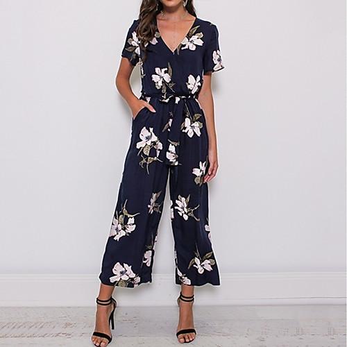 Women's Basic Deep V Black Navy Blue Wine Wide Leg Jumpsuit, Floral Drawstring XXXL XXXXL XXXXXL Cotton