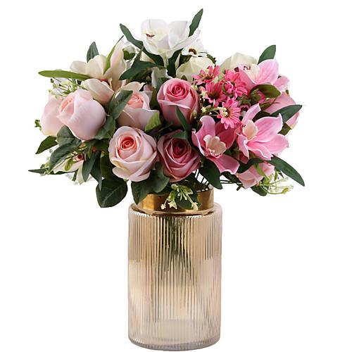 Искусственные Цветы 1 Филиал Классический европейский Свадебные цветы Розы Вечные цветы Букеты на стол