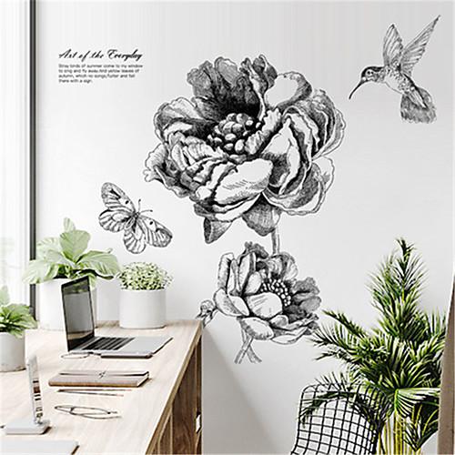 скандинавский современный минималистский ручной росписью цветочные наклейки на стены творческой личности наклейки украшения спальни гостиная самоклеющиеся обои