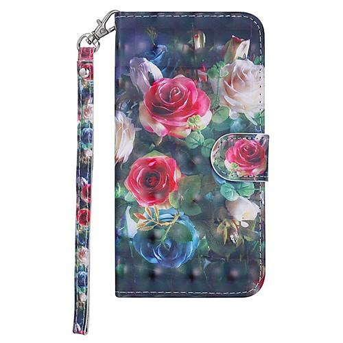 Кейс для Назначение Nokia Nokia 5.1 Кошелек / Бумажник для карт / со стендом Чехол Цветы Твердый Кожа PU для Nokia 5.1 фото