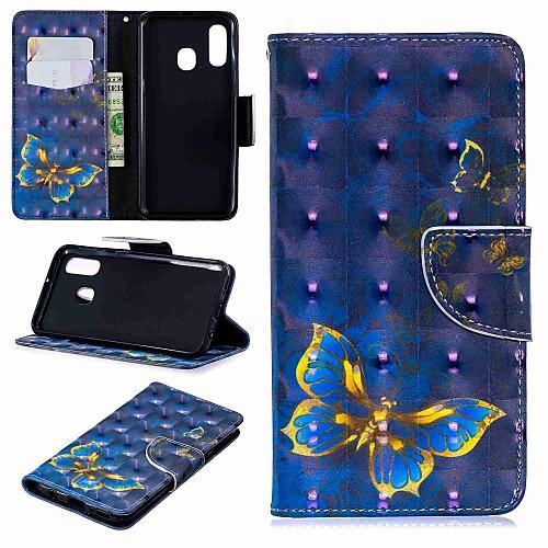 Кейс для Назначение SSamsung Galaxy Samsung Galaxy A20 (2019) / Samsung Galaxy A70 (2019) Кошелек / Бумажник для карт / со стендом Чехол Бабочка Твердый Кожа PU для A6 (2018) / A6 (2018) / Galaxy фото