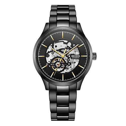Begeel Муж. Часы со скелетом Японский С автоподзаводом Черный 50 m Защита от влаги С гравировкой Аналоговый Мода Скелет - Черный фото