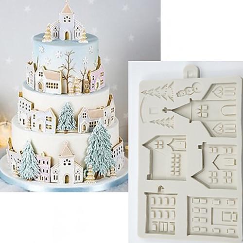 Рождественский пряничный домик силиконовые формы помадка формы инструменты для украшения торта шоколад gumpaste sugarcraft кухонные гаджеты