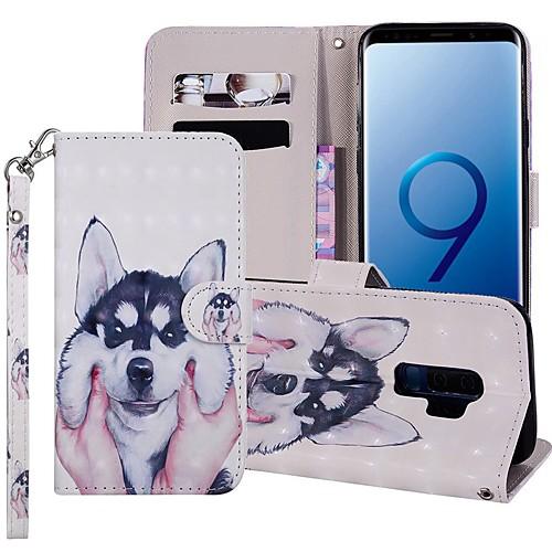 Кейс для Назначение SSamsung Galaxy S9 Plus / S8 Plus Кошелек / Бумажник для карт / со стендом Чехол С собакой Твердый Кожа PU для S9 / S9 Plus / S8 Plus фото