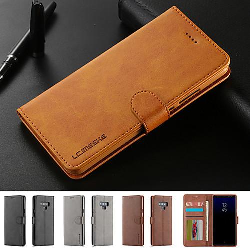 Кейс для Назначение SSamsung Galaxy Note 9 Бумажник для карт / со стендом / Магнитный Чехол Однотонный Твердый Кожа PU для Note 9 / Note 8 фото