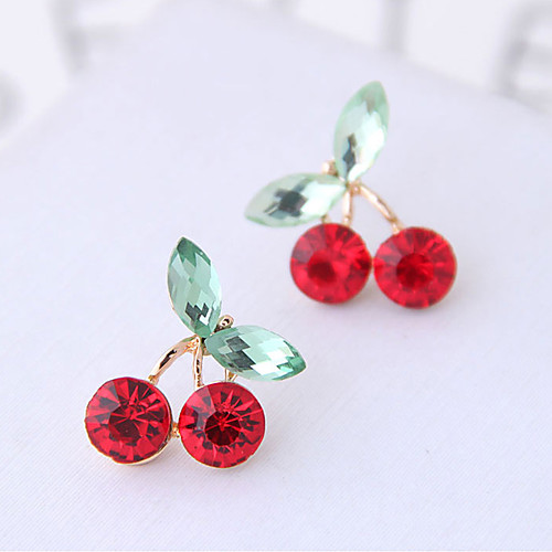 Women's Stud Earrings Earrings Cherry Fruit Sweet Fashion Cute Resin Earrings Jewelry Silver / Golden For Wedding Party Birthday Causal Daily 1 Pair