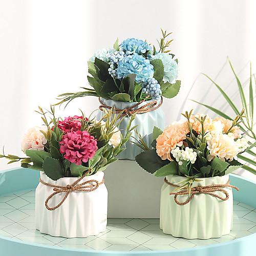 Искусственные Цветы 1 Филиал Классический Современный современный европейский Гортензии Вечные цветы Ваза Букеты на стол
