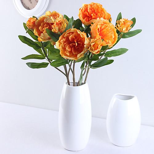 Искусственные Цветы 1 Филиал Классический европейский Простой стиль Пионы Вечные цветы Букеты на стол