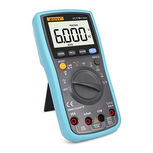 Истинный среднеквадратичный цифровой мультиметр 6000counts автоматический / ручной диапазон переменного / постоянного тока амперметр вольтметр ёмкость ёмкость датчик температуры диод vc17b фото