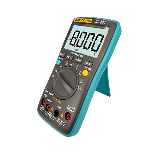 Цифровой мультиметр zt301 8000 рассчитывает истинное среднеквадратичное значение подсветки переменного тока постоянного тока амперметр тока ом / автоматический / ручной фото