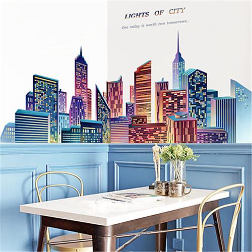 Большой творческий город гостиная спальня самоклеющиеся обои диван фон отделка стен стикер стены здания стикеры стены