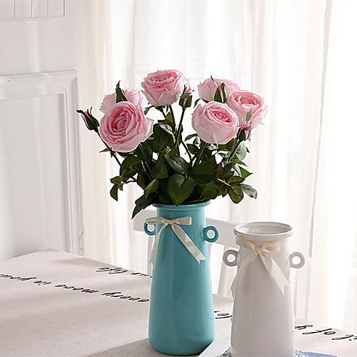 Искусственные Цветы 1 Филиал Классический европейский Простой стиль Розы Вечные цветы Букеты на стол