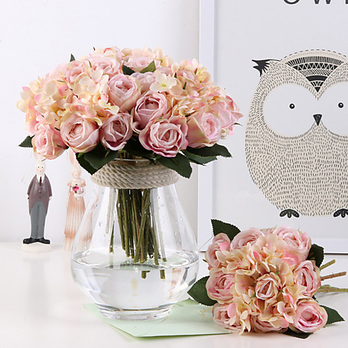 Искусственные Цветы 11 Филиал Классический европейский Свадебные цветы Розы Гортензии Вечные цветы Букеты на стол