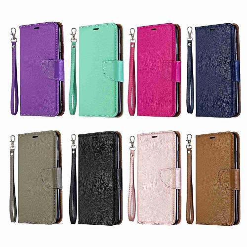 Кейс для Назначение Huawei P20 lite / Huawei P30 Pro Кошелек / Бумажник для карт / со стендом Чехол Однотонный Твердый Кожа PU для Huawei P20 Pro / Huawei P20 lite / Huawei P30 фото
