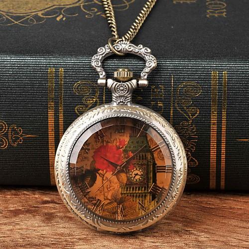 Муж. Карманные часы Кварцевый Бронза Повседневные часы Крупный циферблат Аналоговый Цветы Винтаж - Коричневый фото