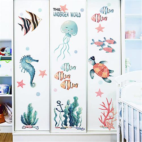 мультфильм подводный мир наклейки детская комната спальня отделка стен детский сад морской наклейки на стенку рыбки ins наклейки