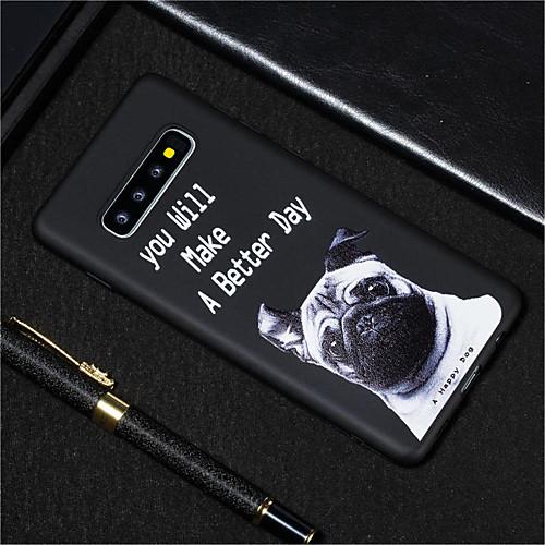 Кейс для Назначение SSamsung Galaxy Galaxy S10 / Galaxy S10 Plus Матовое / С узором Кейс на заднюю панель С собакой Мягкий ТПУ для S9 / S9 Plus / S8 Plus фото