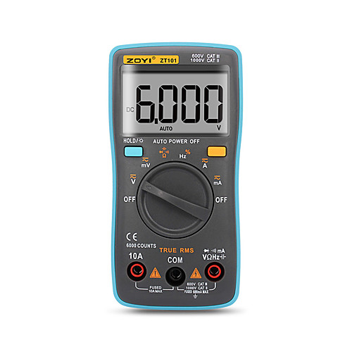 Цифровой автоматический мультиметр ZT101 ZT102 6000 отсчетов подсветка амперметр вольтметр вольтметр ом портативный измеритель напряжения фото