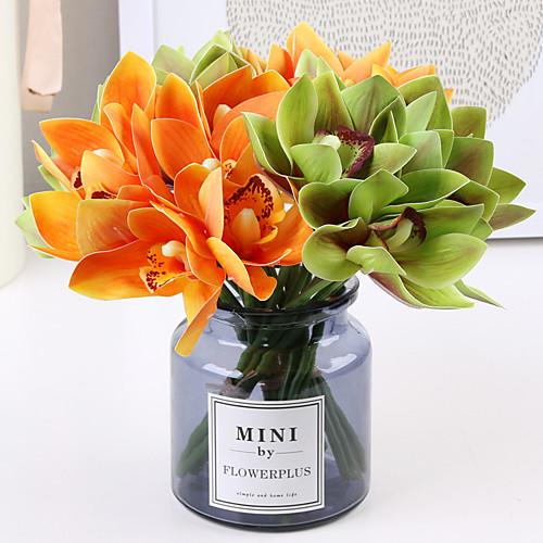 Искусственные Цветы 6 Филиал Классический европейский Простой стиль Орхидеи Вечные цветы Букеты на стол