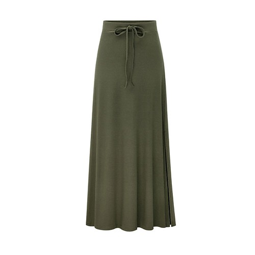 Women's Basic Maxi A Line Skirts - Solid Colored Patchwork Black Gray Army Green