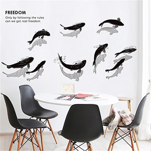 Китайские чернила рыбки наклейки на стену гостиная исследование творческой личности украшения спальни самоклеящиеся обои бесплатно наклейки фото