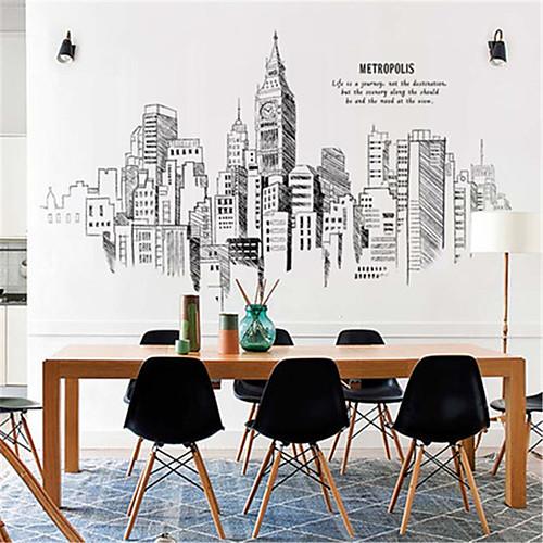 большая спальня украшения ручная роспись городских зданий самоклеящиеся обои наклейки гостиная диван телевизор фоне стены наклейки