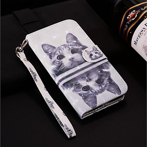 Кейс для Назначение Xiaomi Xiaomi Redmi 6 Pro / Mi 8 Lite Кошелек / Бумажник для карт / со стендом Чехол Кот Твердый Кожа PU для Xiaomi Redmi 6 Pro / Xiaomi Redmi 5 Plus / Xiaomi Mi 8 Lite фото