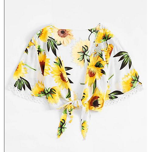 Жен. Блуза Цветочный принт Белый S фото