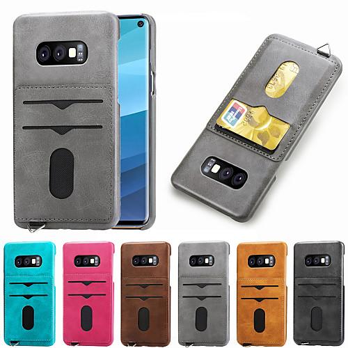 Кейс для Назначение SSamsung Galaxy S9 / Galaxy S10 E Бумажник для карт Кейс на заднюю панель Однотонный Твердый Кожа PU для S9 / S9 Plus / Galaxy S10 фото