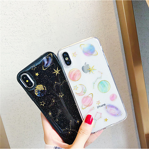 Case For Apple iPhone XR / iPhone XS Max DIY / Pattern / Transparent Back Cover Glitter Shine / Scenery Soft TPU for iPhone X /Xs / 6 /6 Plus / 6S /6S Plus / 7 / 7 Plus / 8 / 8 Plus