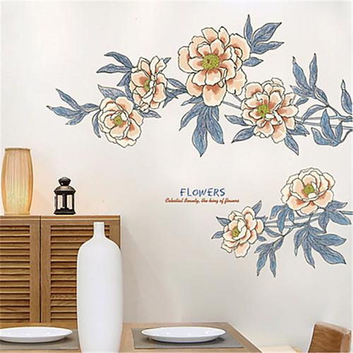 теплая гостиная спальня прикроватный винтажный орнамент аппликация стикер стены большой диван фон самоклеящиеся цветочные наклейки