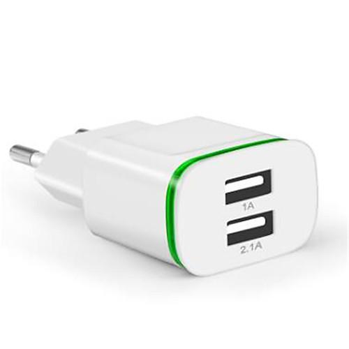 Портативное зарядное устройство Зарядное устройство USB Евро стандарт Несколько разъемов 2 USB порта 2.1 A 100~240 V для Универсальный фото