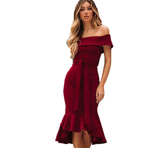 Жен. Оболочка Платье - Однотонный Средней длины фото