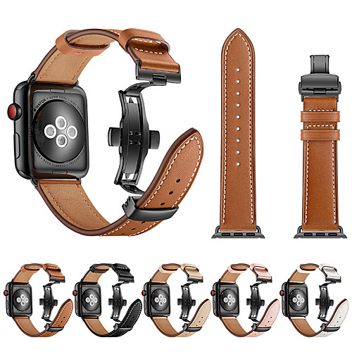 Watch Band for Apple Watch Series 4/3/2/1 Apple Butterfly Buckle / Leather Loop Genuine Leather / Stainless Steel Wrist Strap