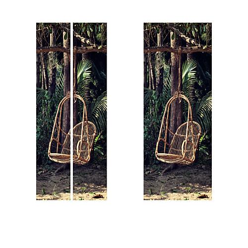 Creative diy 3d дверные наклейки лесной плетеный стул шаблон для украшения стены комнаты домашнего декора