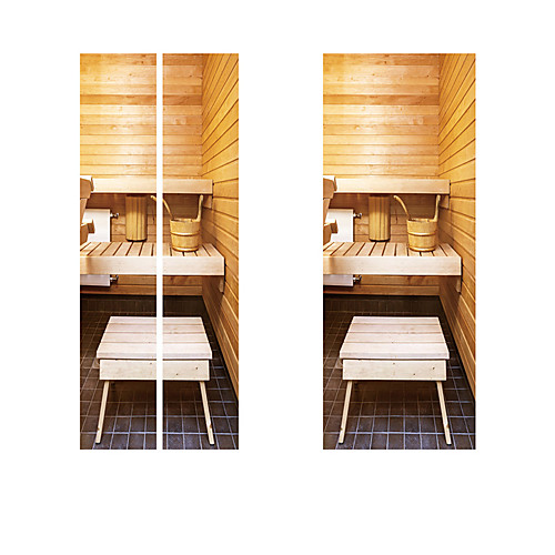 Creative diy 3d-эффект дверные наклейки ванная комната toliet шаблон для украшения стены комнаты домашнего декора аксессуары стикер стены