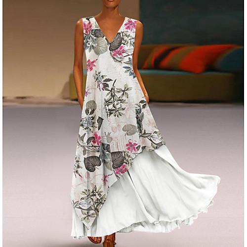 miniinthebox / Mulheres Duas Peças Vestido Floral Longo