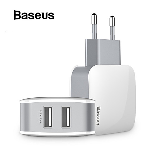 Baseus 2 USB EU Charger Plug For Samsung Huawei Xiaomi Dual USB Port Travel Wall Charger Mobile Phone USB Charger Adapter 5V2.4A