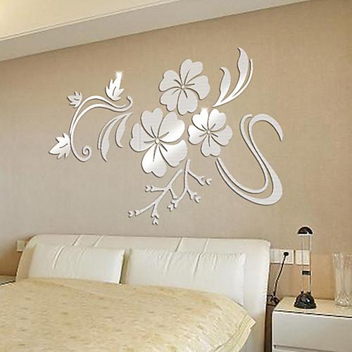 Декоративные наклейки на стены - 3D наклейки / Зеркальные стикеры Цветочные мотивы / ботанический / 3D Спальня / Кабинет / Офис