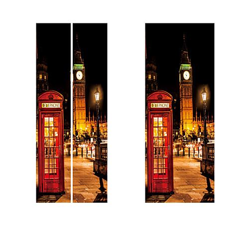 Британский стиль лондон красная телефонная будка спортивный автомобиль биг бен классическая дверь стикер diy росписи декора дома плакат пвх водонепроницаемый стикер
