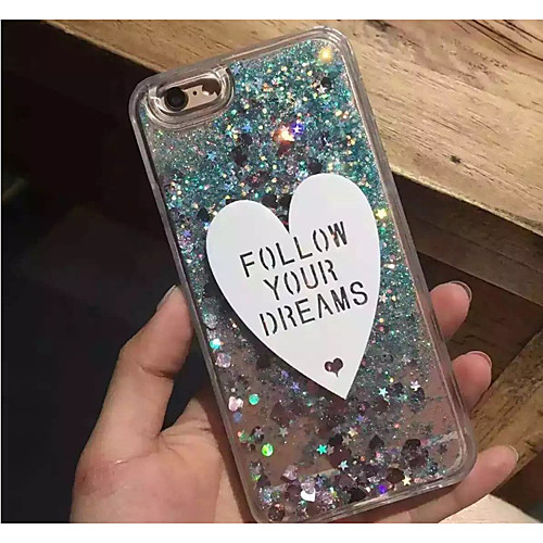 Case For Apple iPhone XS Max / iPhone 6 Flowing Liquid / Glitter Shine Back Cover Heart Soft TPU for iPhone X / iPhone 8 Plus / iPhone 8