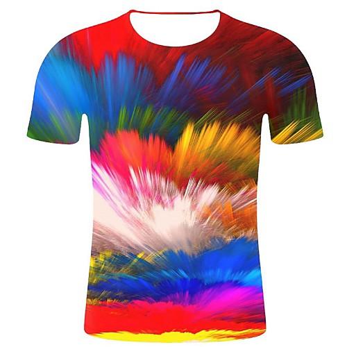 Men's Plus Size Cotton T-shirt - Geometric / 3D / Graphic Print Round Neck Rainbow XXL