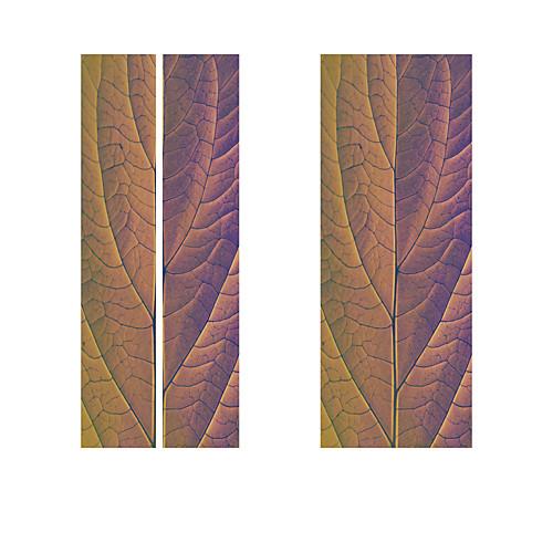 2 шт. / Компл. Творческий фиолетовый листья завод классический стикер двери diy росписи домашнего декора плакат пвх водонепроницаемый стикер