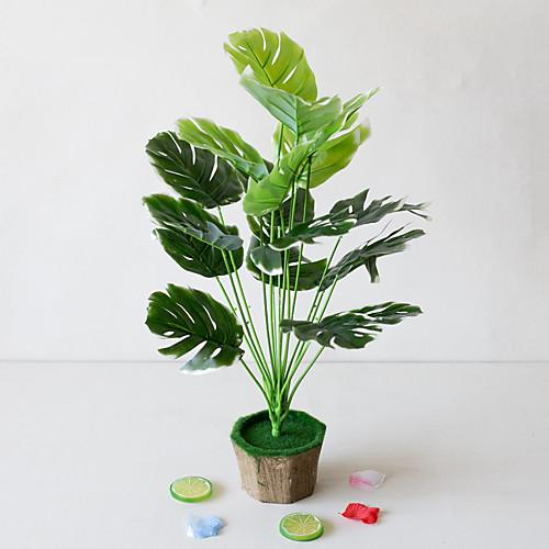 1 шт. Простой творческий симулятор растение в горшке зеленые листья инженерные зеленые листья 18 вилка черепаха задние листья офис гостиная исследование украшения зеленые растения фото
