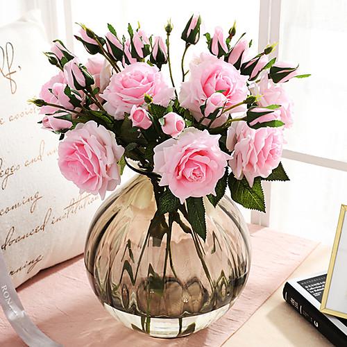 Искусственные Цветы 3 Филиал Классический европейский Простой стиль Розы Вечные цветы Букеты на стол